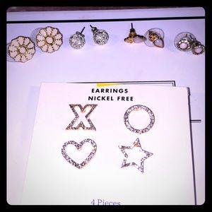 🌸 Stud Earrings ❤️ ⭐️ Bundle Set Of Five NWT